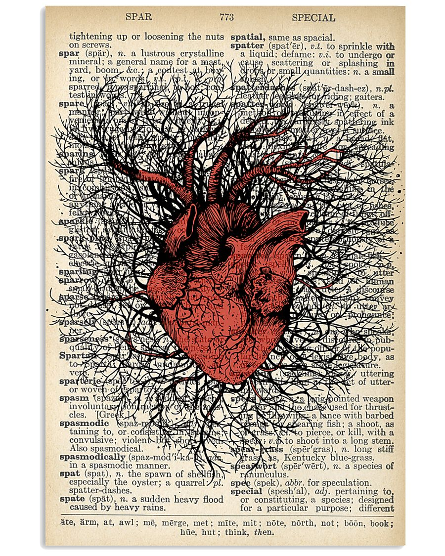 Anatomical Heart Vintage Background Cardiologist 11x17 Poster