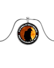 To The World My Son Is A Firefighter  Metallic Circle Necklace front