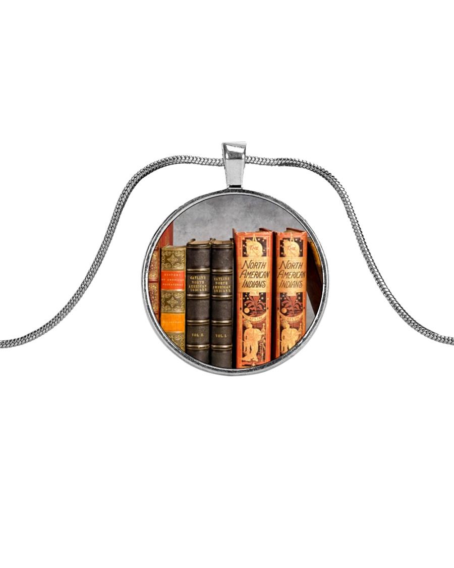 Librarian Books necklace Metallic Circle Necklace
