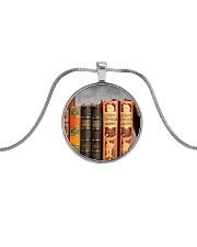 Librarian Books necklace Metallic Circle Necklace front