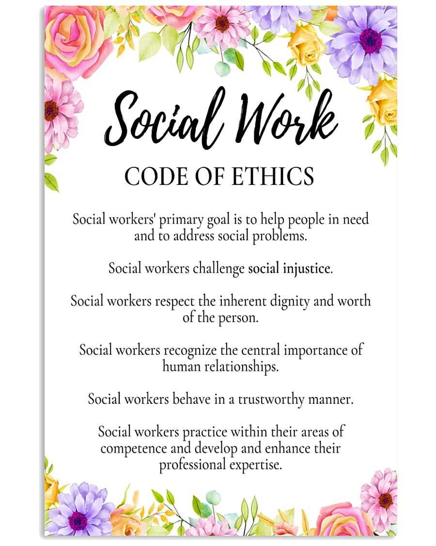 Social Worker Code Of Ethics 11x17 Poster