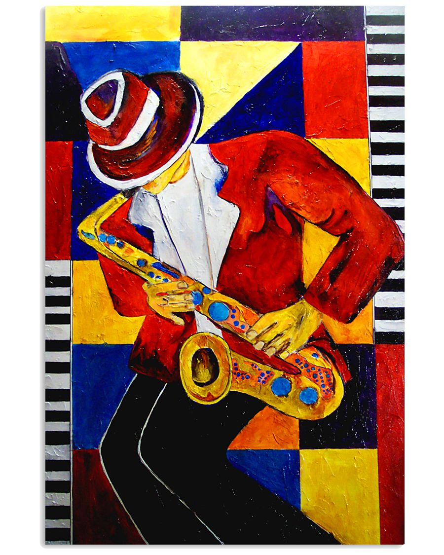 Saxophonist Saxophone Man Art Shapes 11x17 Poster