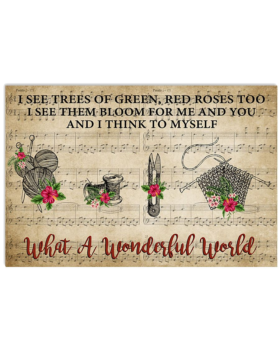 Crocheting I see trees of green red roses 17x11 Poster