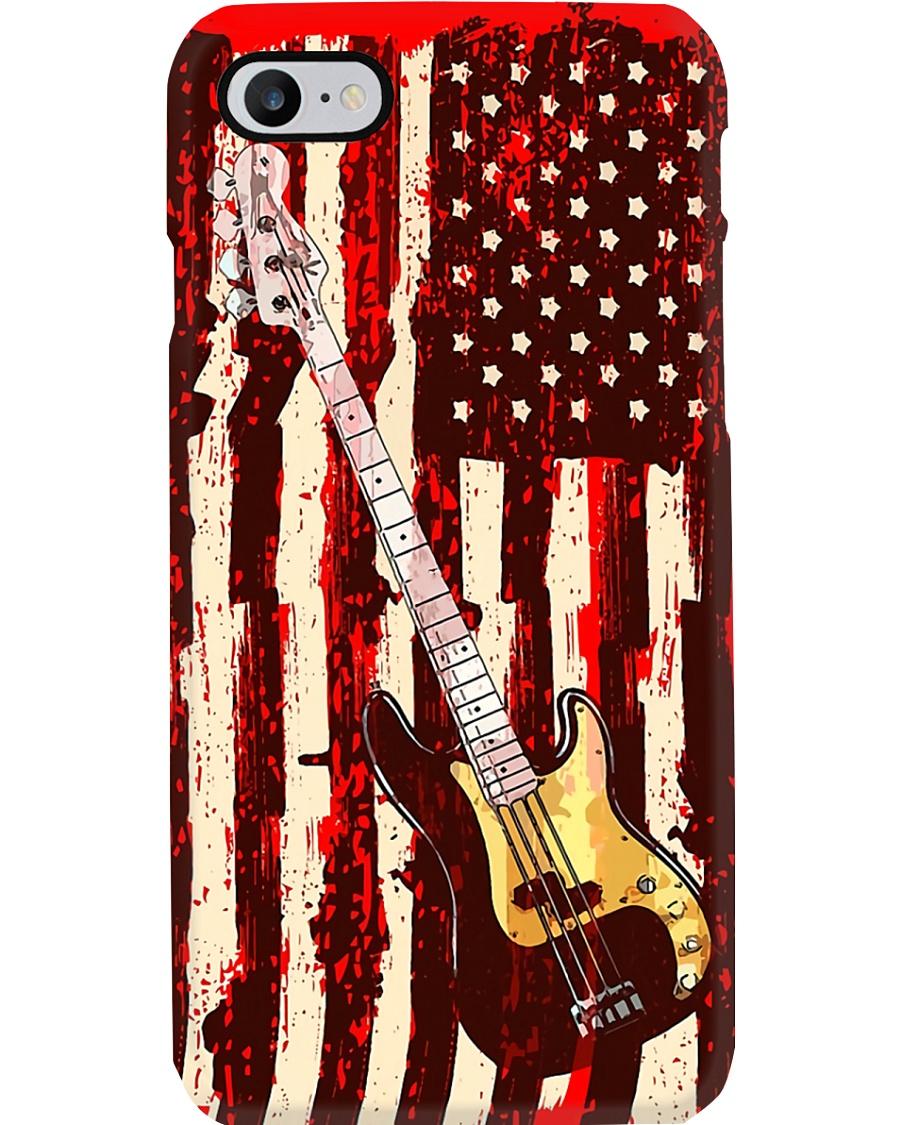 Bass Guitar On American Flag  Phone Case