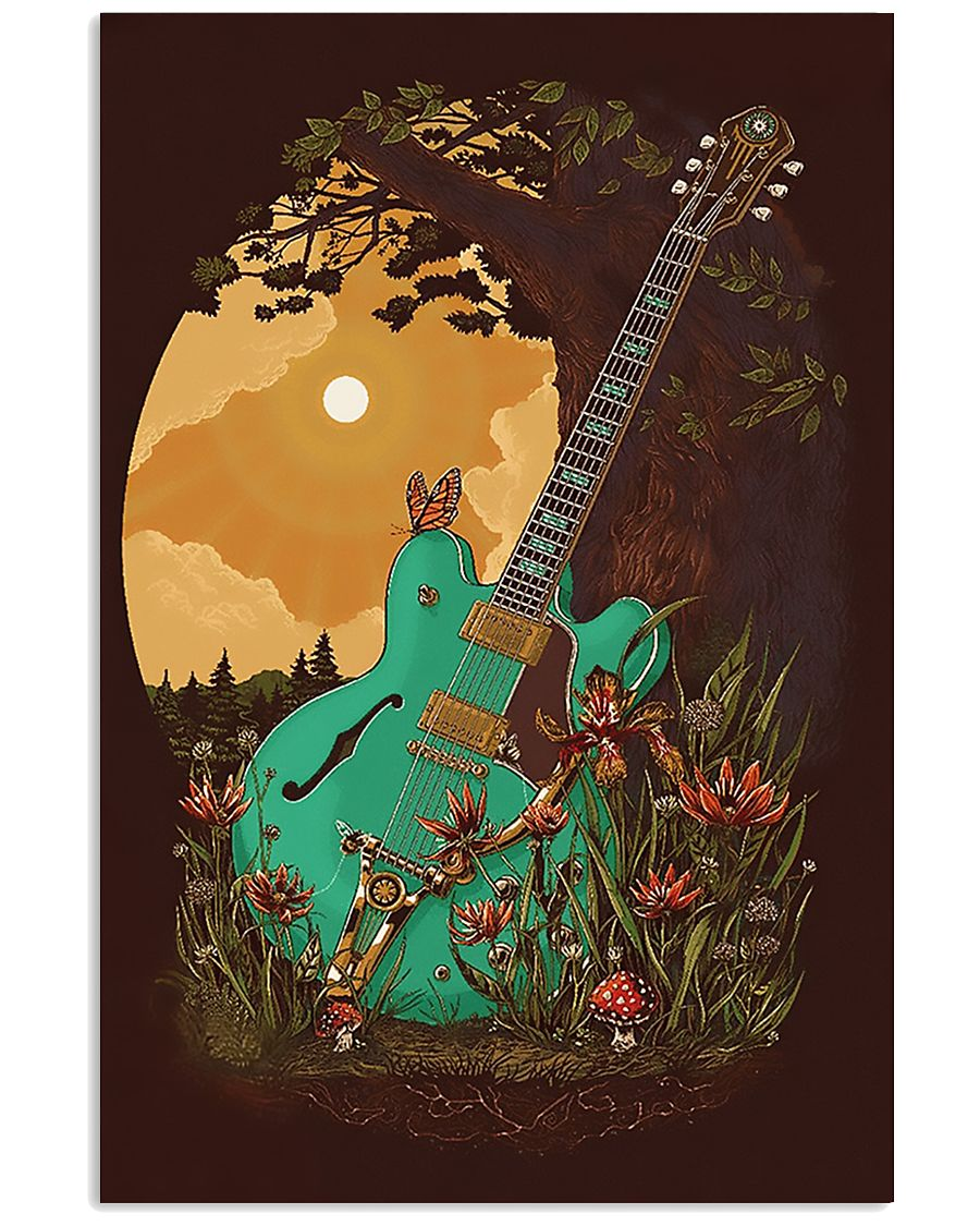 Guitar 6 Strings Under Sunset  11x17 Poster