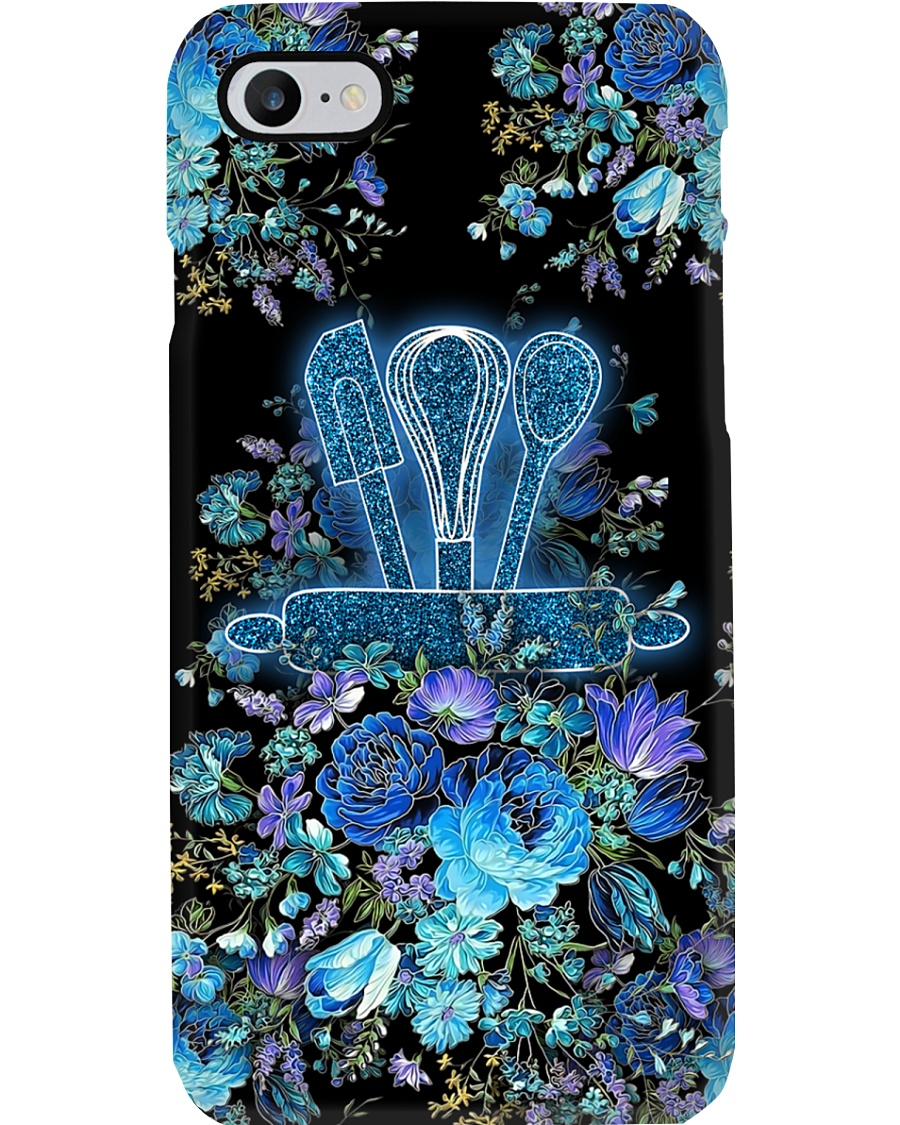 Baker Blue Flowery Baking Tools Phone Case