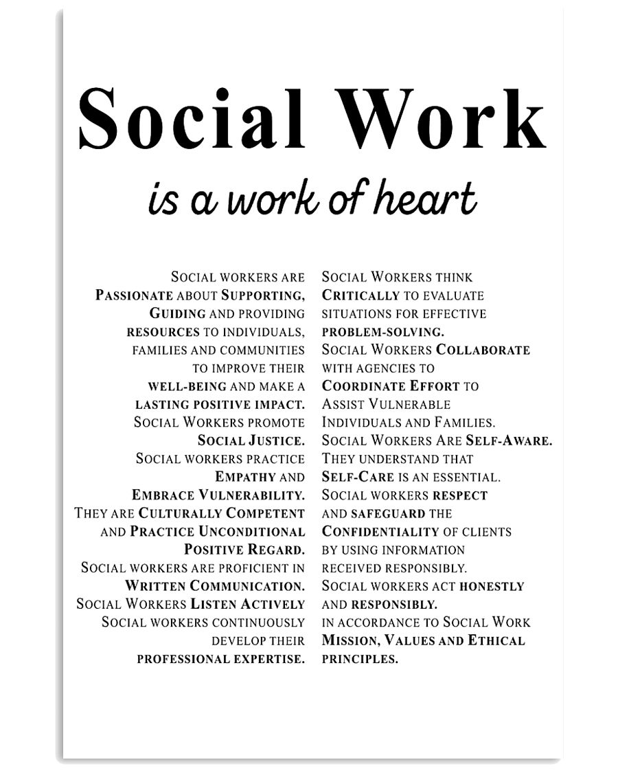 Social Work Is A Work Of Heart 11x17 Poster
