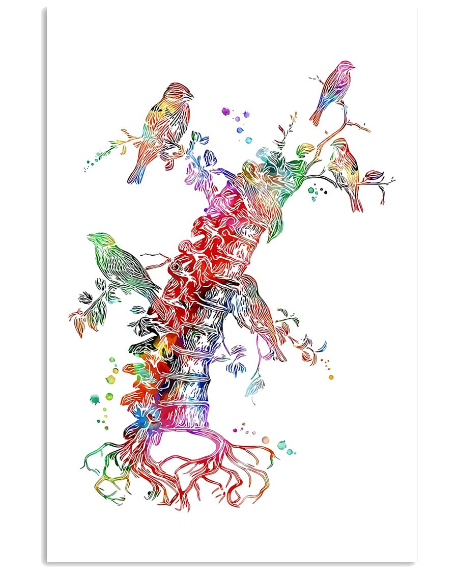 Chiropractor Colorful Spine With Birds 11x17 Poster