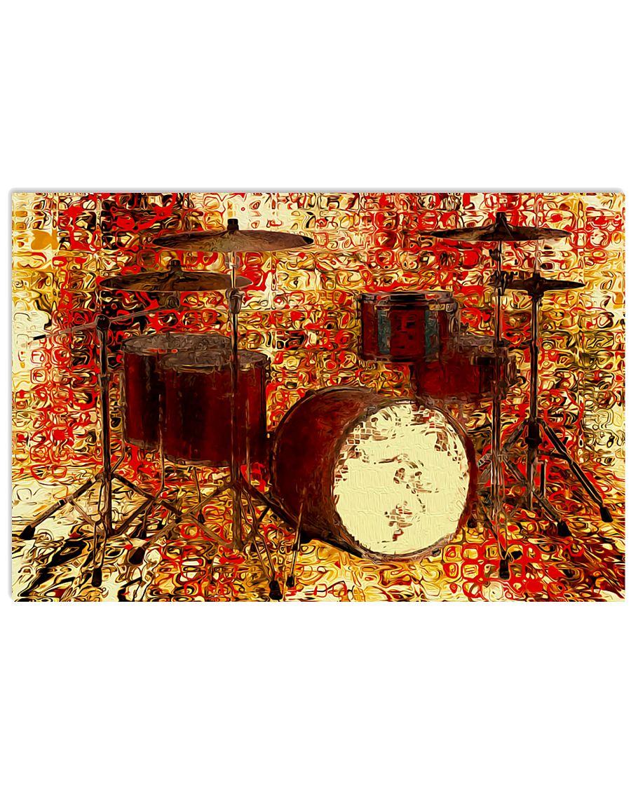Drummer Red Drum Set 17x11 Poster