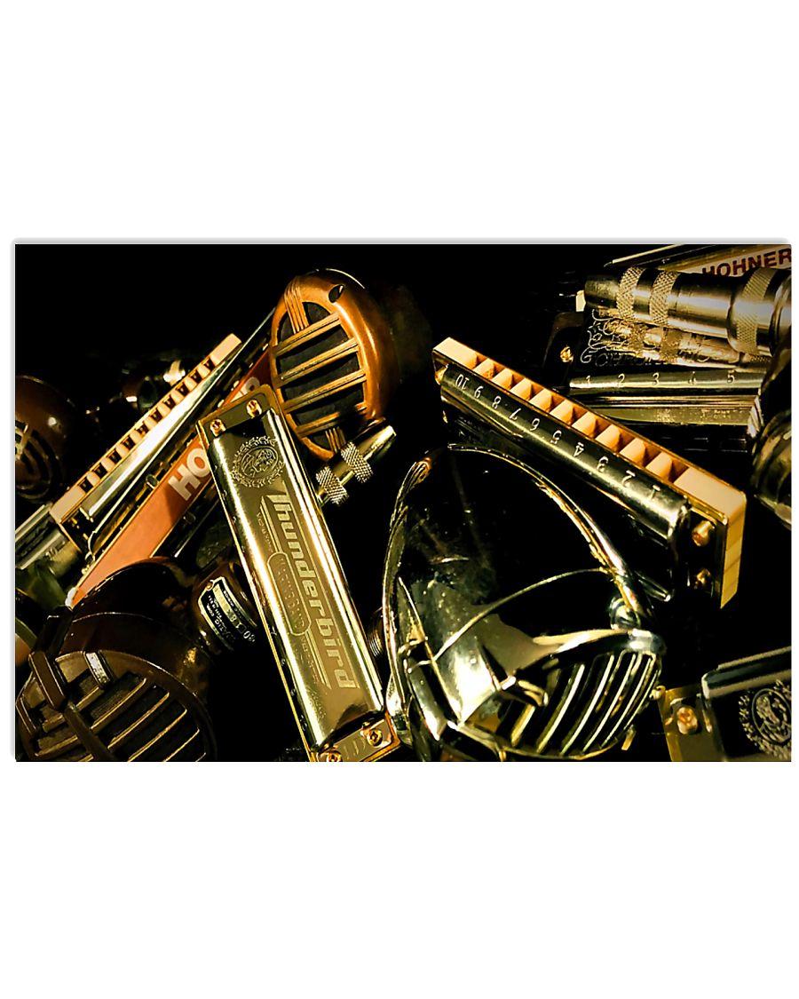 Many Art Vintage Harmonicas  17x11 Poster