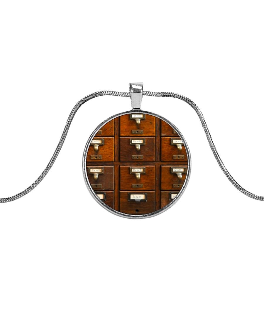 Librarian Library Card Catalog Art Metallic Circle Necklace