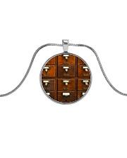 Librarian Library Card Catalog Art Metallic Circle Necklace front