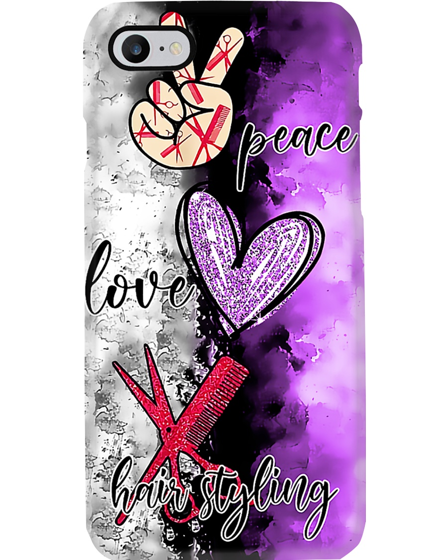 Hairdresser Peace Love Hairstyling Phone Case