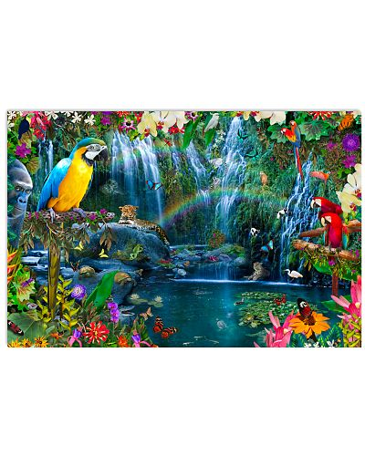 Parrots in Tropical Island Poster