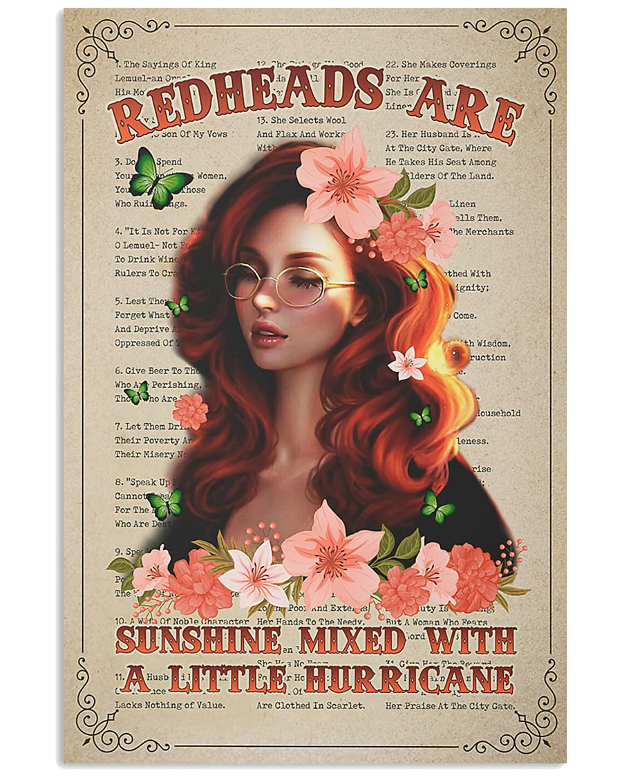 Redhead Is Sunshine Mixed With A Little Hurricane 11x17 Poster
