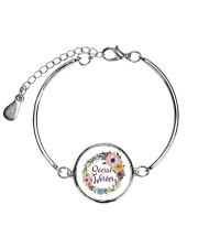 Social Worker Flowery Gift Metallic Circle Bracelet tile