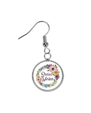 Social Worker Flowery Gift Circle Earrings thumbnail