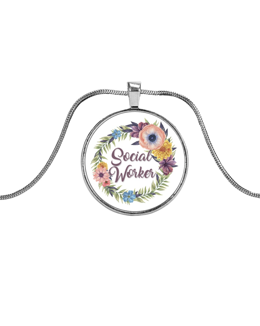 Social Worker Flowery Gift Metallic Circle Necklace