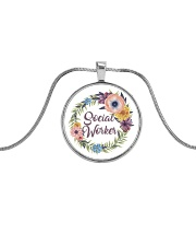 Social Worker Flowery Gift Metallic Circle Necklace front