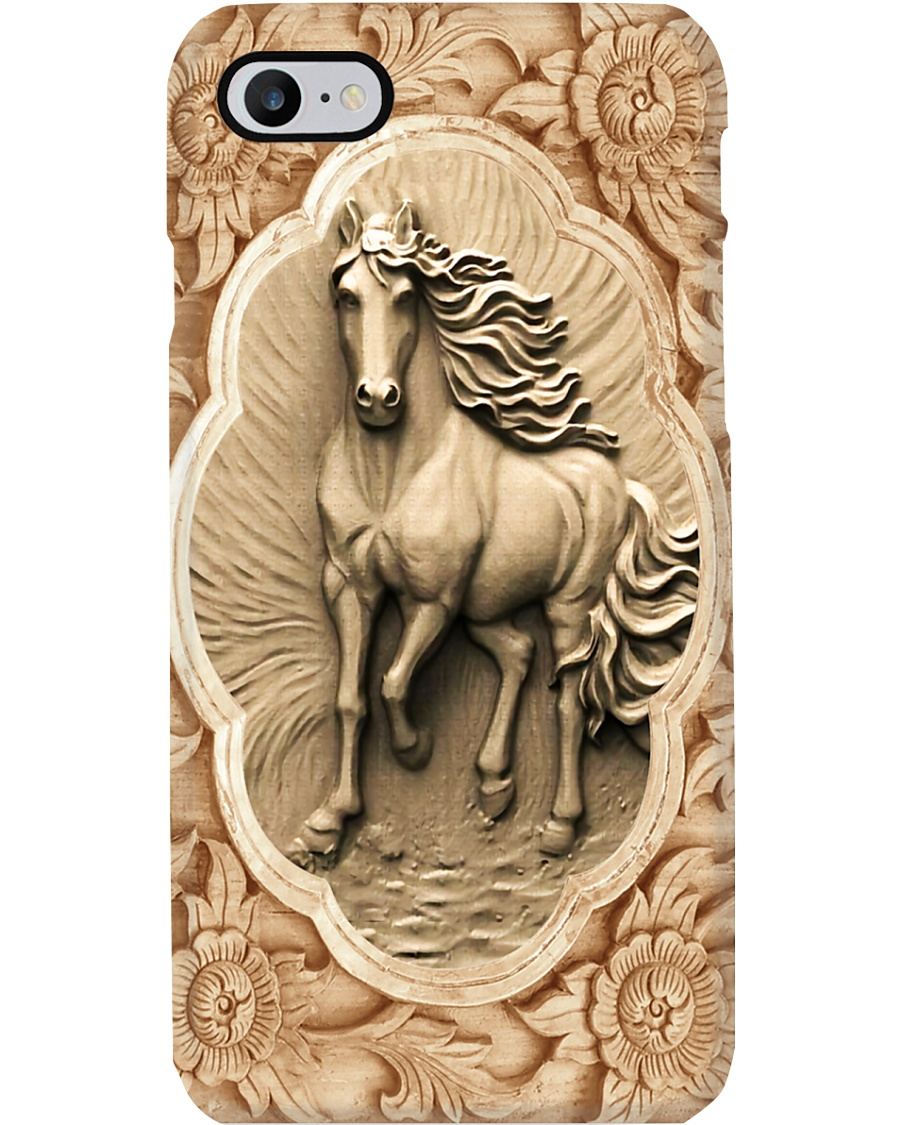 Horse Girl Horse And Flowers Wood Sculpture Art Phone Case