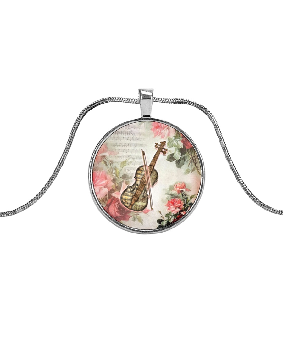 Viola Flower Metallic Circle Necklace