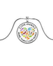 Vegan I love animals Metallic Circle Necklace front