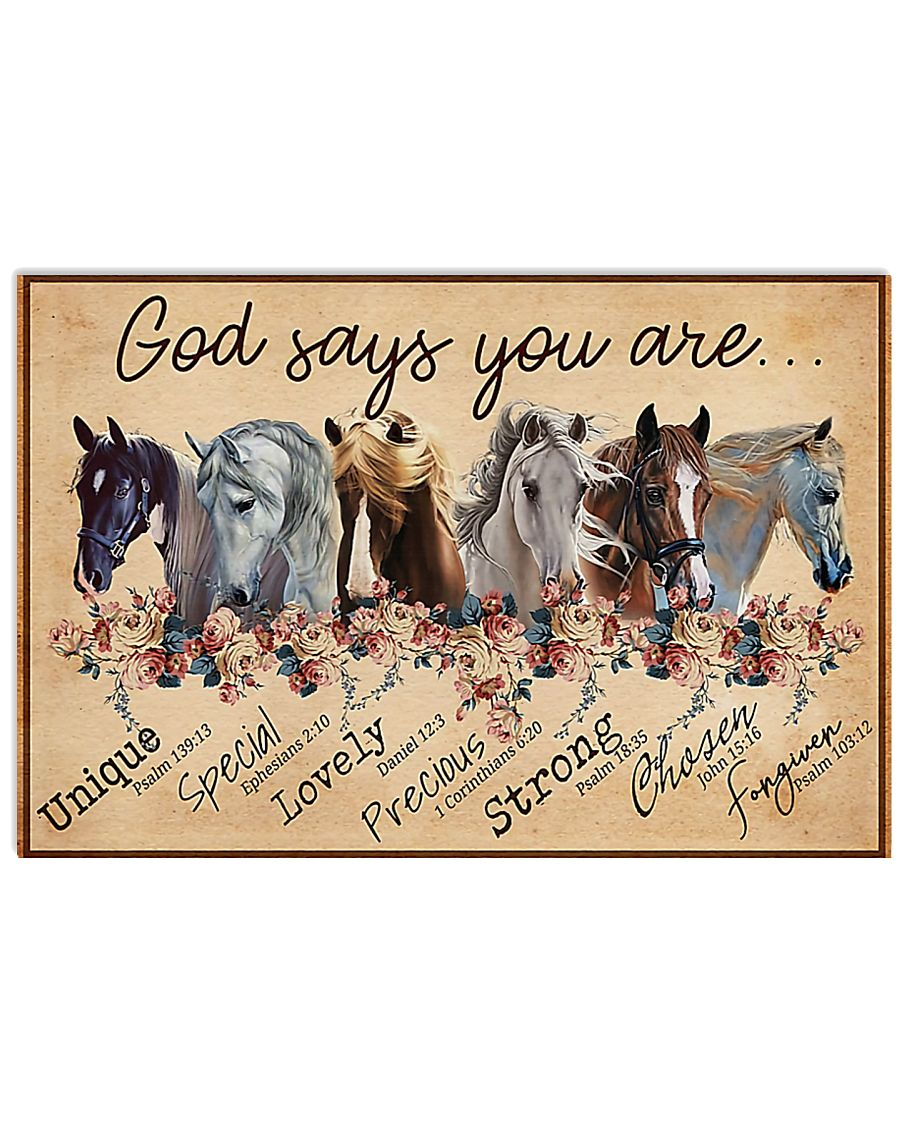 Horse Girl God Says You Are Unique 17x11 Poster
