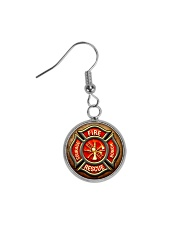 Firefighter Fire Honor Rescue Courage Circle Earrings thumbnail