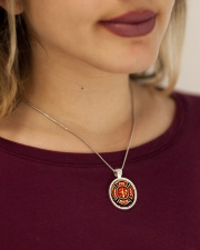 Firefighter Fire Honor Rescue Courage Metallic Circle Necklace aos-necklace-circle-metallic-lifestyle-1