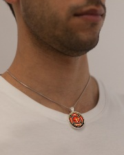 Firefighter Fire Honor Rescue Courage Metallic Circle Necklace aos-necklace-circle-metallic-lifestyle-2
