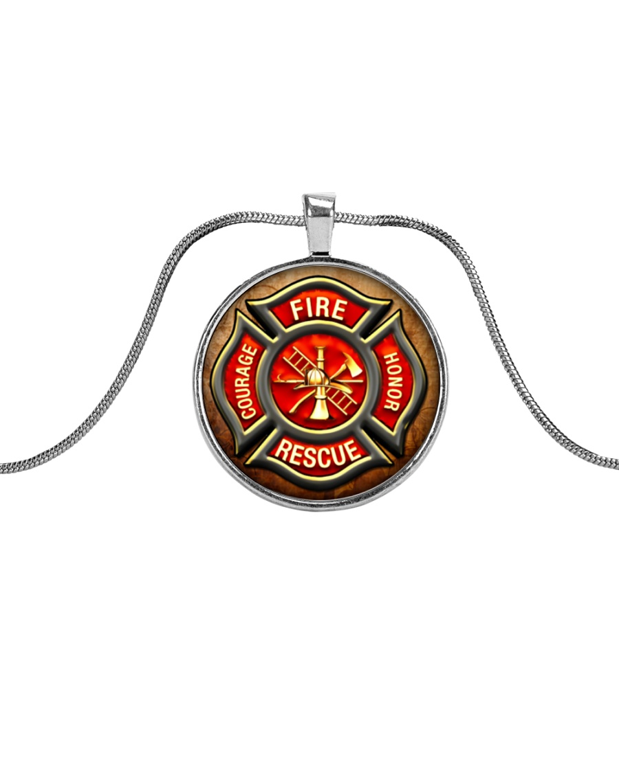 Firefighter Fire Honor Rescue Courage Metallic Circle Necklace