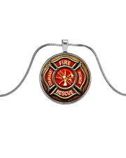 Firefighter Fire Honor Rescue Courage Metallic Circle Necklace front