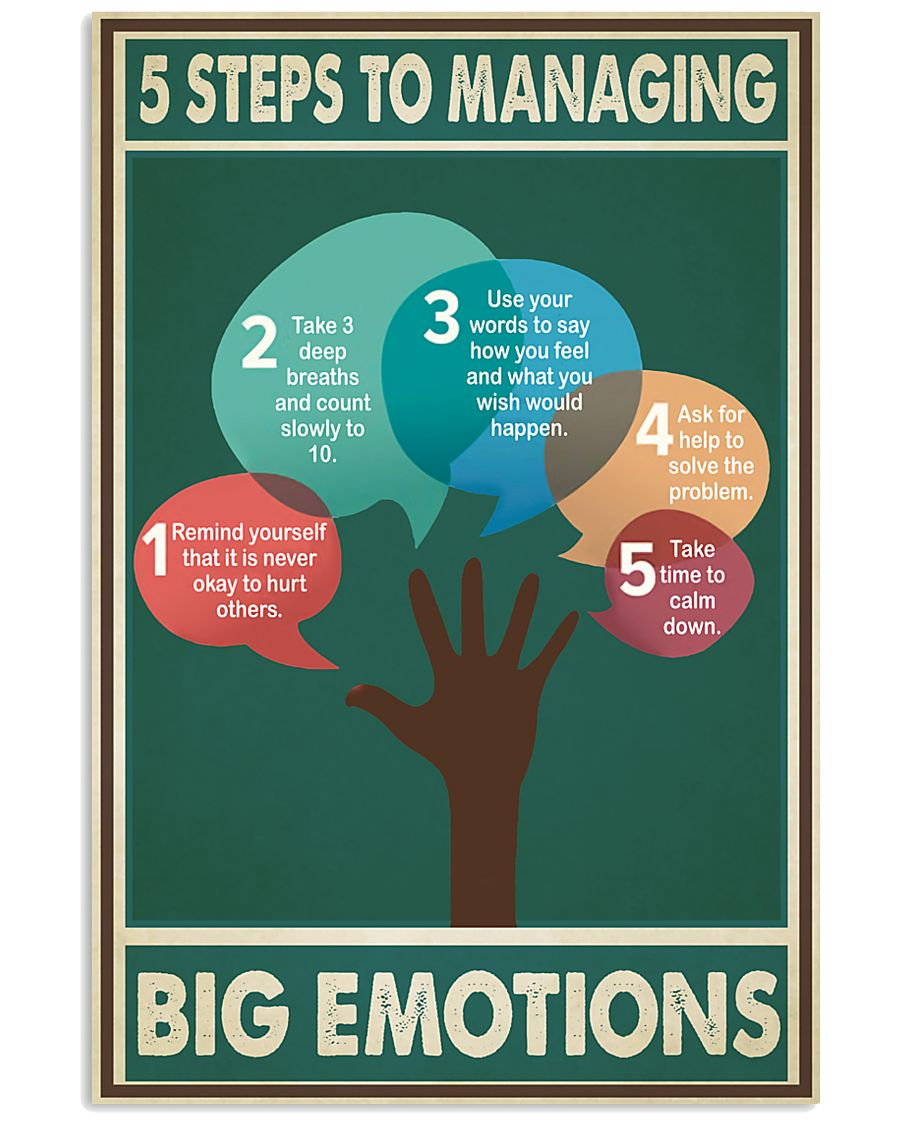 Social Worker 5 Steps To Managing Big Emotions  11x17 Poster