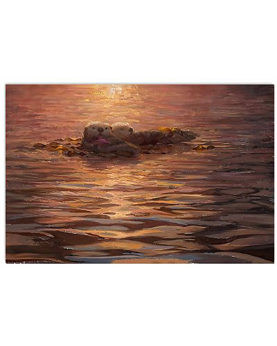 Otter Sleeping in the sunset Poster