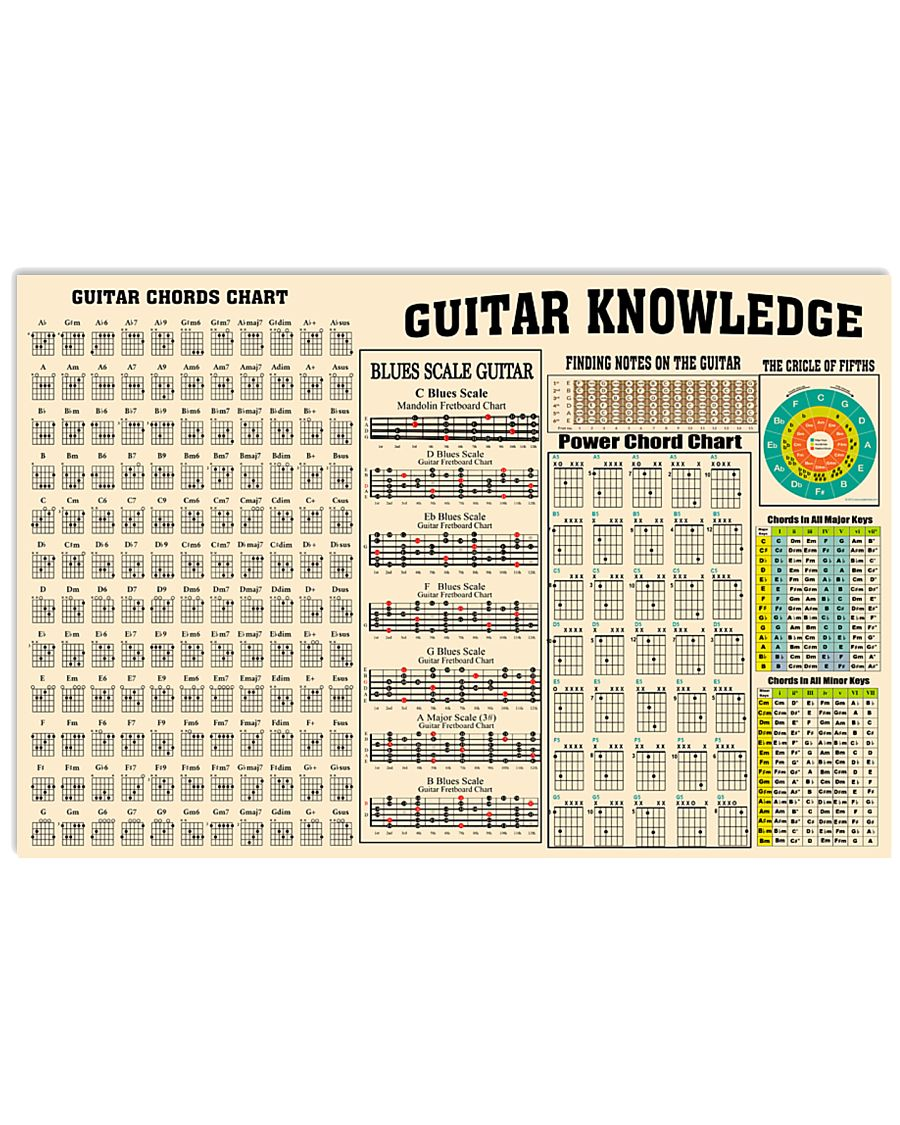Guitar Knowledge Chart  17x11 Poster