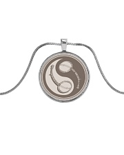 Yinyang Banjo Instrument  Metallic Circle Necklace front