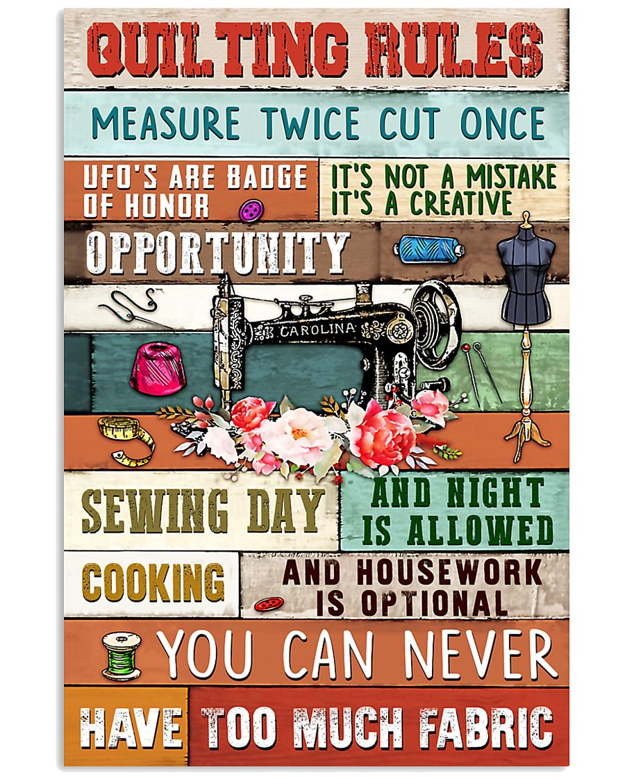 Quilting Rules Sewing  11x17 Poster