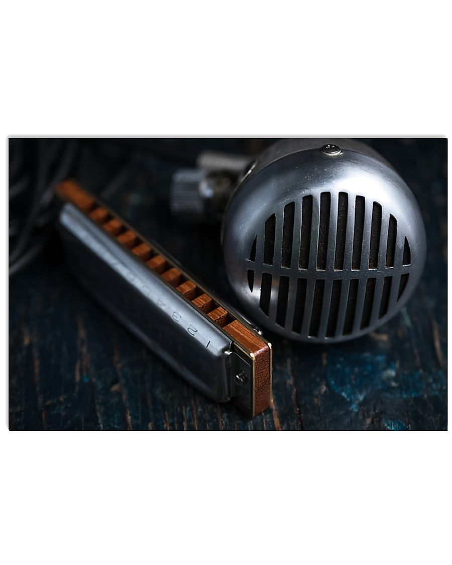 Blues Harmonica Microphone 17x11 Poster