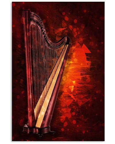 Red Background Harp Instrument
