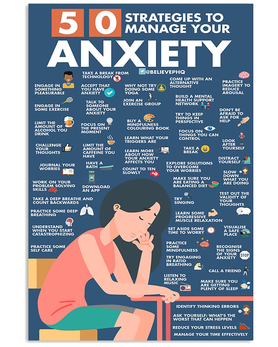 Social Worker 50 Strategies To Manage You Anxiety  11x17 Poster
