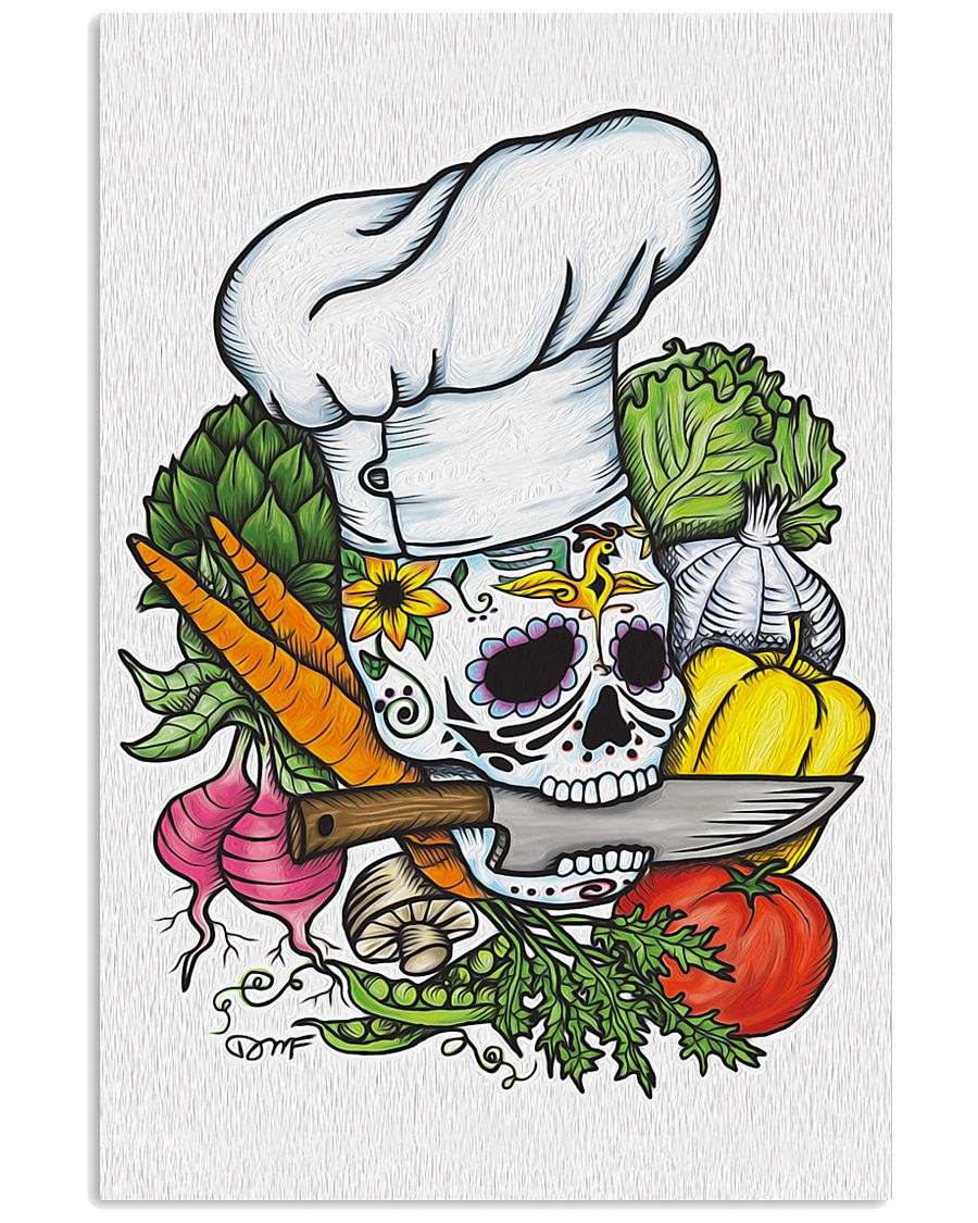 Skull Chef with vegestable 11x17 Poster