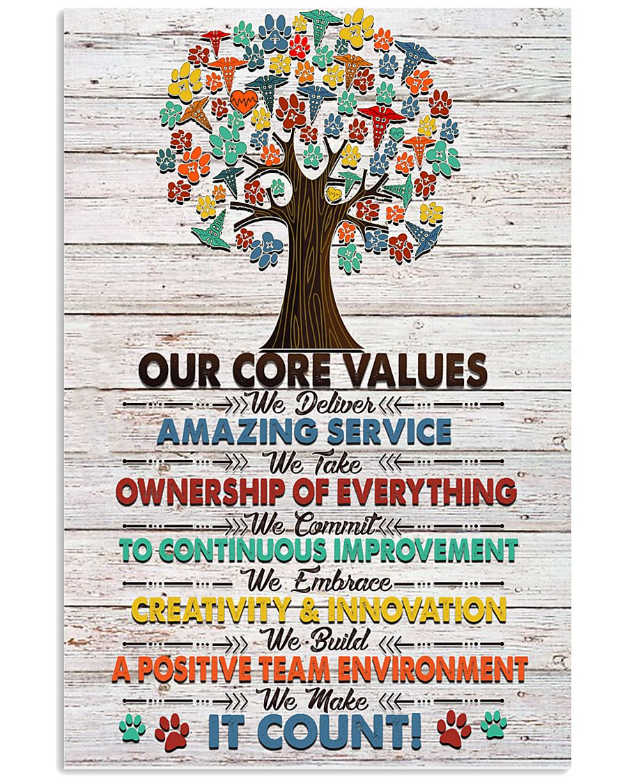 Veterinarian Our Core Values Poster 11x17 Poster