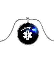 Paramedic Logo Metallic Circle Necklace front