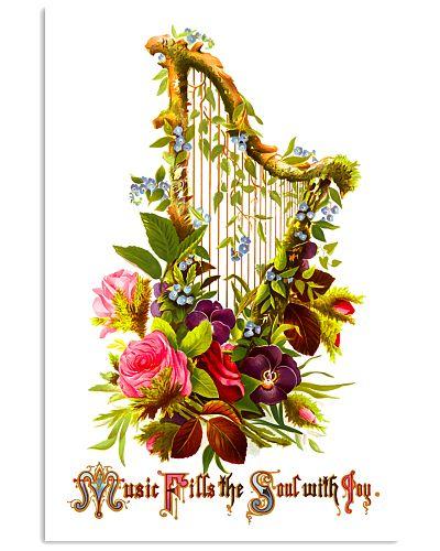 Vintage Floral Harp Music