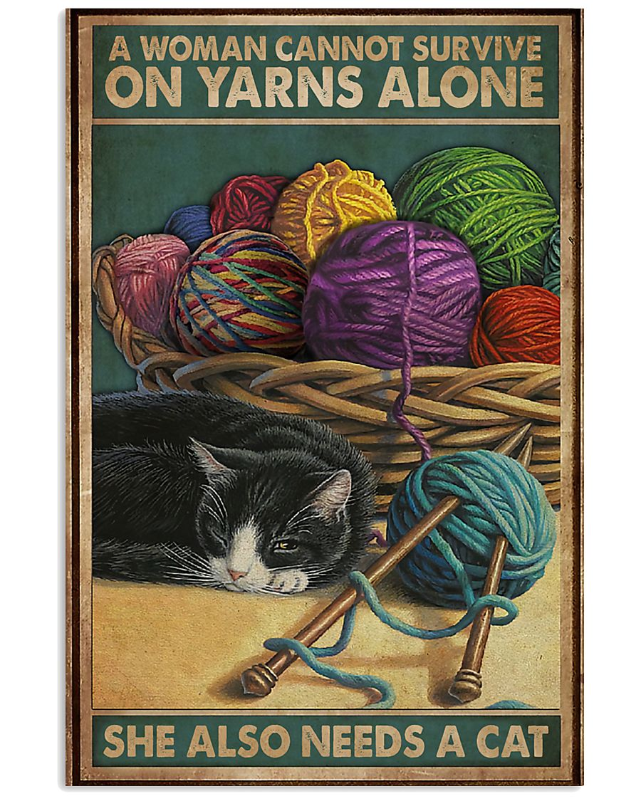 Sewing Woman Needs A Cat 11x17 Poster