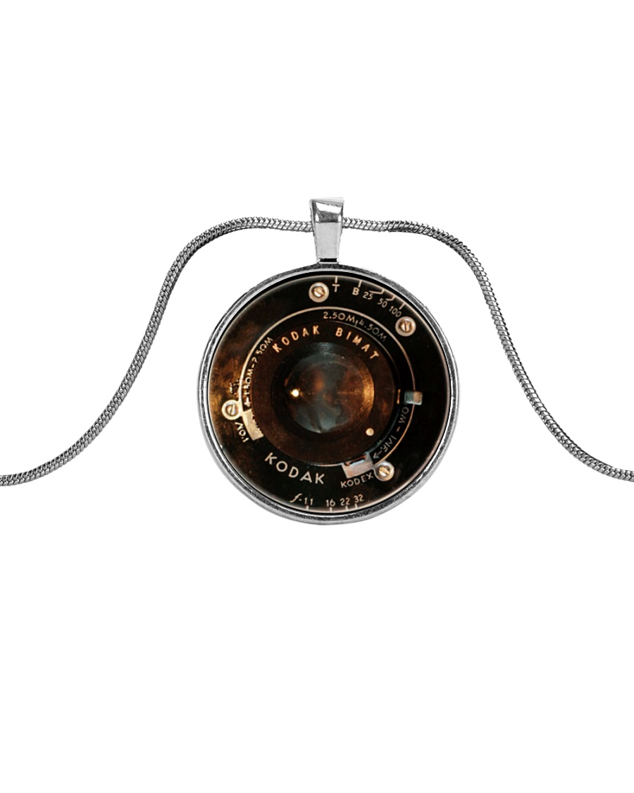 Photographer Vintage Camera Lens Metallic Circle Necklace