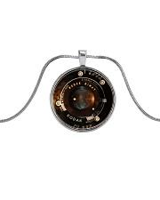 Photographer Vintage Camera Lens Metallic Circle Necklace front