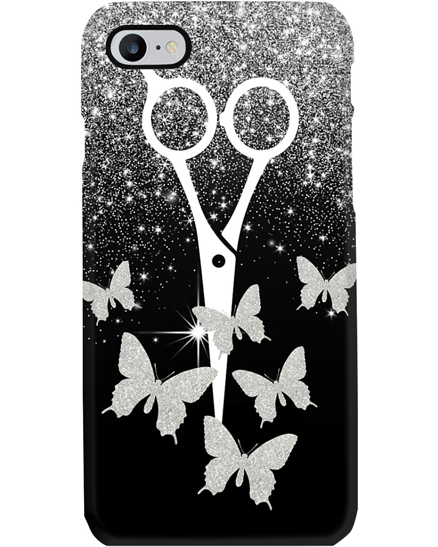 Hairdresser Sparkle Scissor And Butterfly  Phone Case
