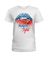 Hair Stylist Lips Ladies T-Shirt front