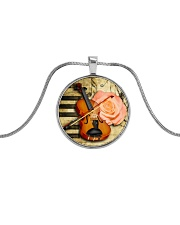 Violin and rose Metallic Circle Necklace front